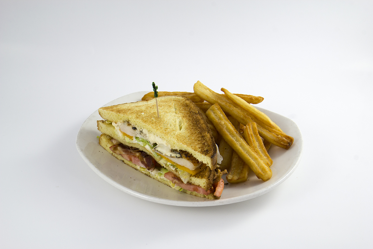 St.Louis Menu: 1/2 Triple Decker Club and Fries or Salad